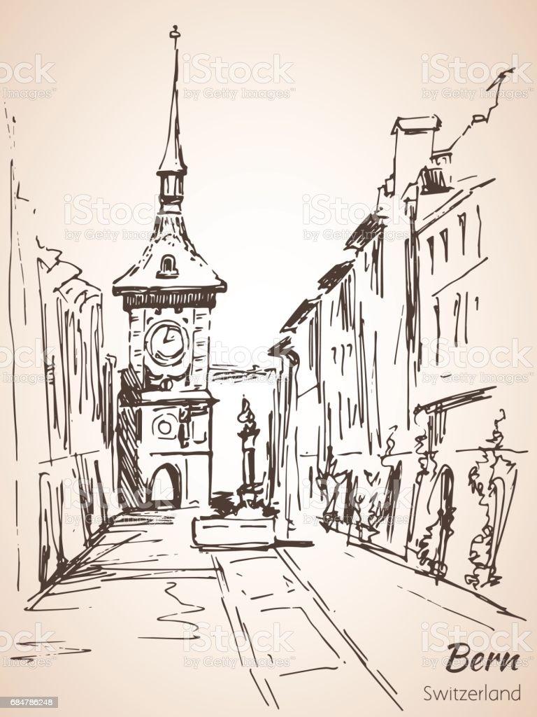 Old City Of Bern View Sketch Switzerland Stock Vektor Art und mehr ...