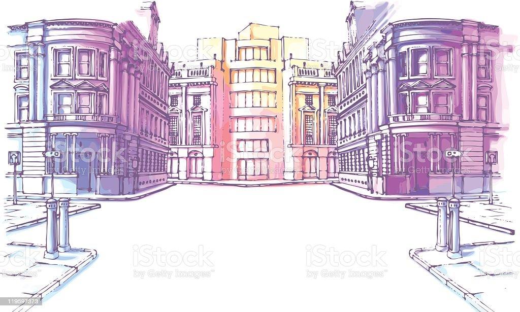 Cidade Velha rua - ilustração de arte em vetor