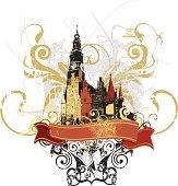 castle, ornament & banner - grunge-styled artwork