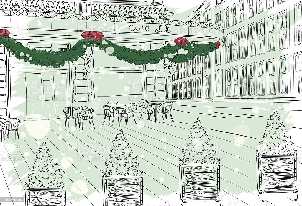 Old city view cafe with Christmas decorations vector art illustration
