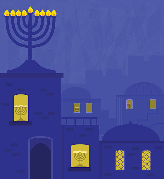 Old City With Menorah vector art illustration