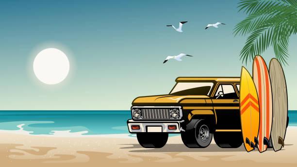 bildbanksillustrationer, clip art samt tecknat material och ikoner med gammal klassisk suv bil på surfstranden - surf garage