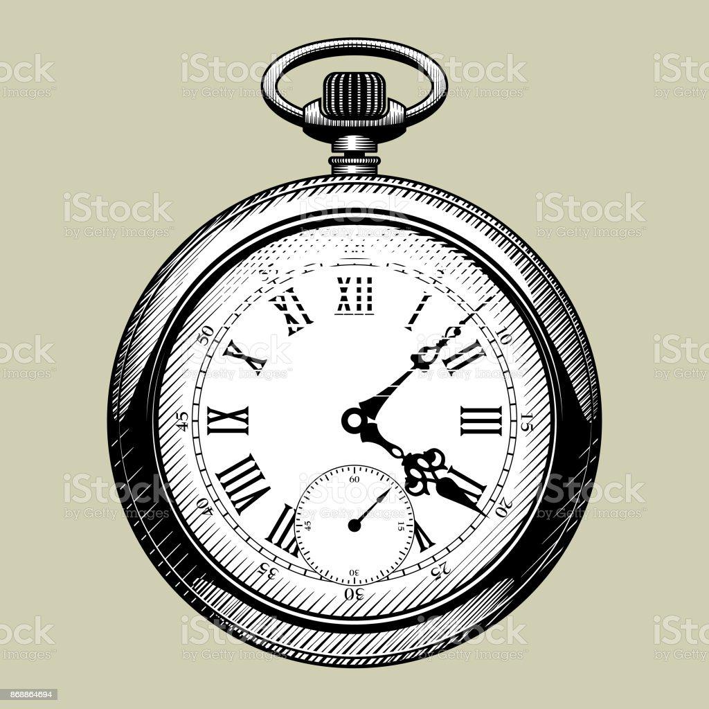 Old clock face. Retro pocket watch vector art illustration