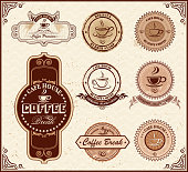 design of vector retro coffee labels.This file was recorded with adobe illustrator cs4 transparent. EPS10 format.