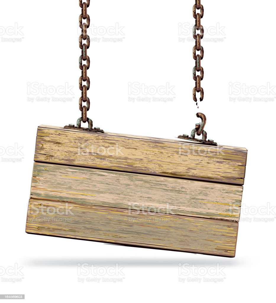 Old color wooden board with broken chain. vector art illustration