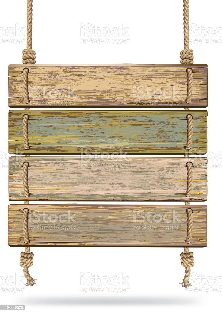 Alte Farbe Holz Schild mit Seil. – Vektorgrafik