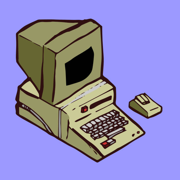 Old Computer vector art illustration
