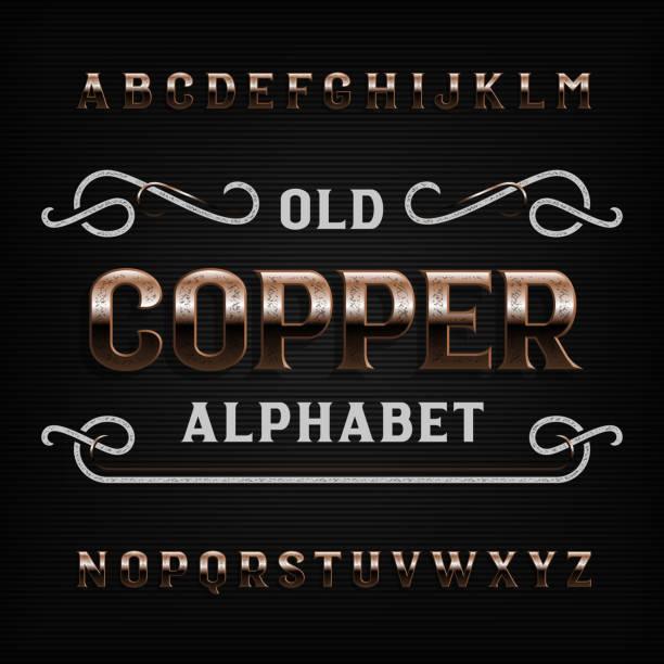 alte kupfer alphabet schriftart - edelrost stock-grafiken, -clipart, -cartoons und -symbole