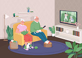 Old couple at home flat color vector illustration. Grandmother and grandfather watch TV together. Pensioners relax on couch. Elderly family 2D cartoon characters with house interior on background