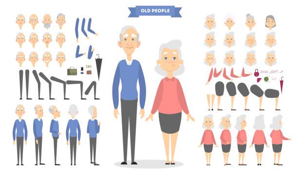 old couple characters - starsi mężczyźni stock illustrations