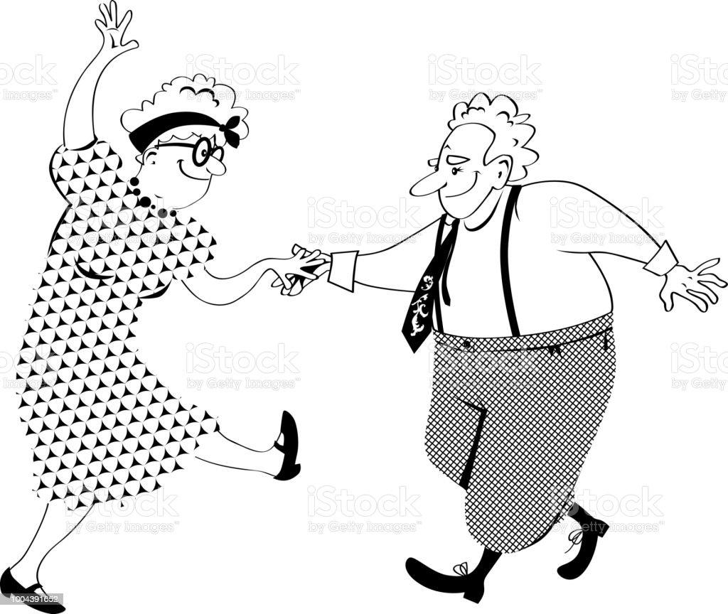 Old couple dancing vector art illustration