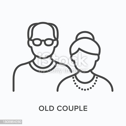 istock Old couple flat line icon. Vector outline illustration of grandfather and grandmother. Black thin linear pictogram for senior people 1305954250