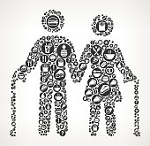 Old Couple Food Black and White Icon BackgroundApple and Apple Slice Food Black and White Icon Background. The main object of this illustration is composed with round  buttons with food, diet and nutrition icons on them. The icons are white in color and include a variety of nutrition and diet items. You will find such icons as fruit, dairy, meat, utensils and many more on this colorful vector composition.  The background of the illustration is white with a slight gradient around the edges.