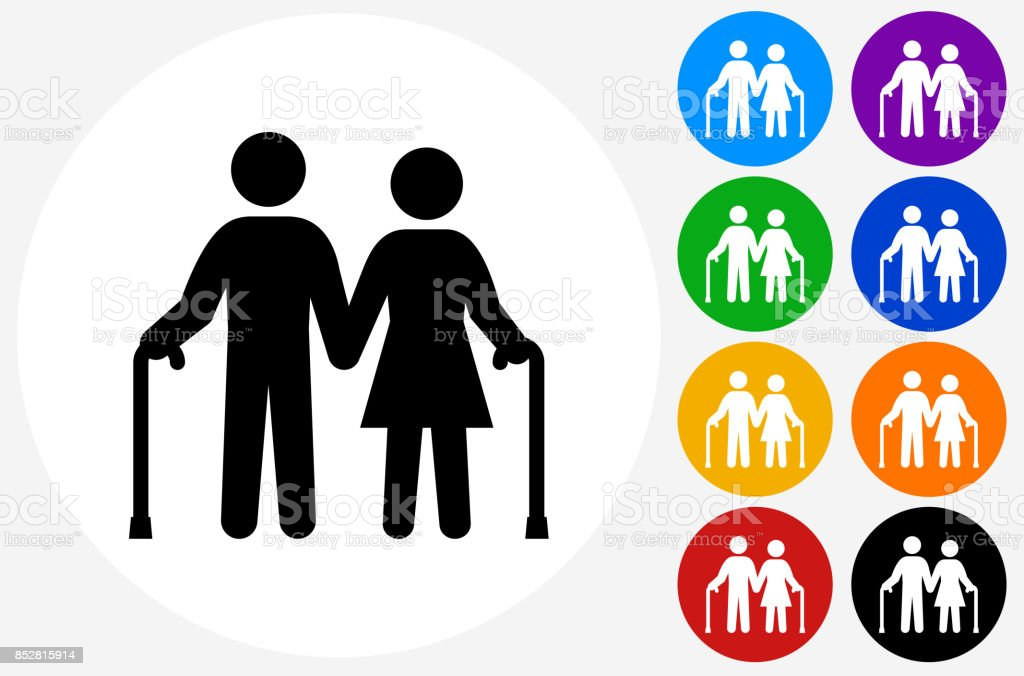 Old Couple Holding Hands on Flat Round Button vector art illustration