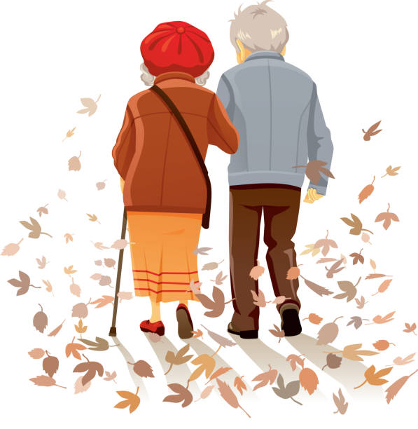 Walking In Love Clip Art: Royalty Free Drawing Of The Old Couple Walking Together