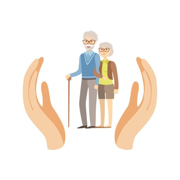 illustrations, cliparts, dessins animés et icônes de old couple protected by two palms - gériatrie