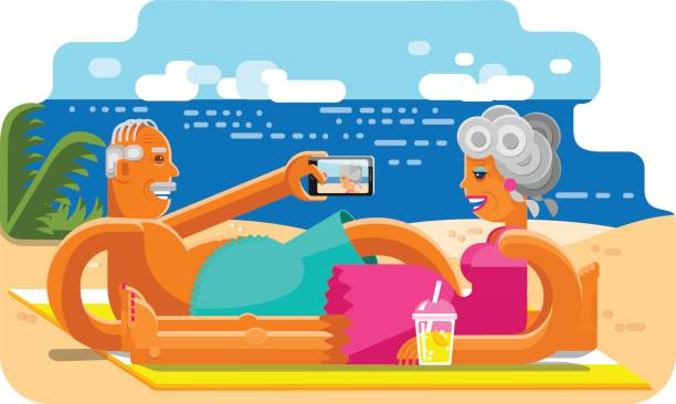 old couple taking selfie with smartphone on the beach - old man funny pictures stock illustrations, clip art, cartoons, & icons