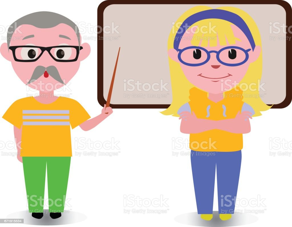 Old Couple Teaching Lesson With Black Board Happy Cartoon