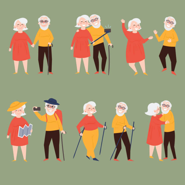 old couple travel together and make photo selfies - old man illustration pictures stock illustrations, clip art, cartoons, & icons