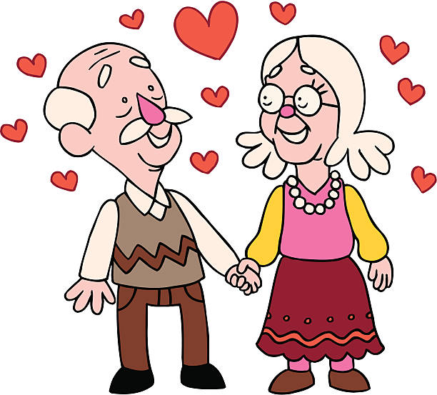 Royalty Free Silhouette Of The Older Couple Holding Hands ...