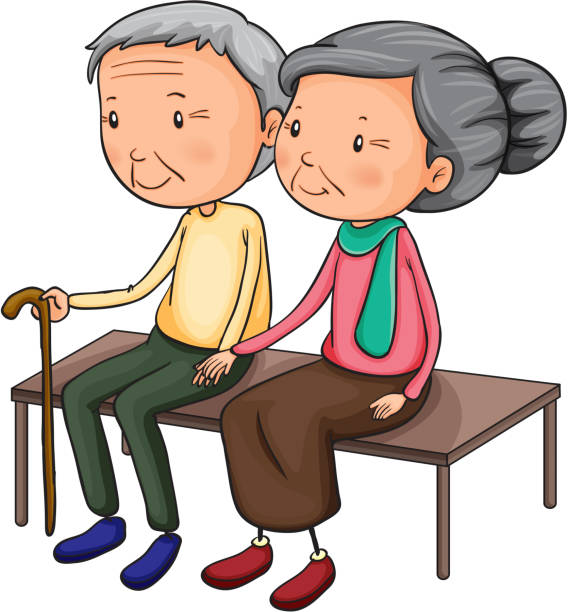 old couple - old man sitting backgrounds stock illustrations, clip art, cartoons, & icons