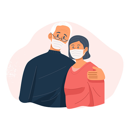 Old couple wearing face masks and hugging each other, Retired couple, Vector Illustration