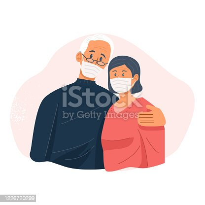 istock Old couple wearing face masks and hugging each other, Retired couple, Vector Illustration 1226720299