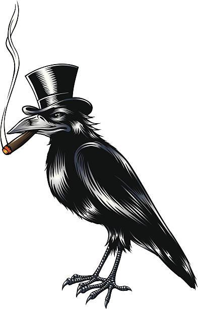 Old Crow vector art illustration