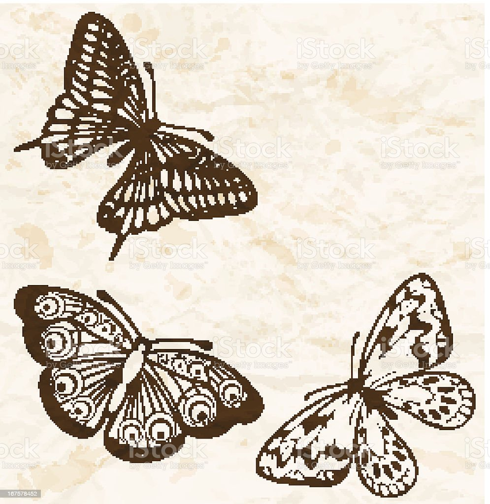 Old crumpled paper with flying butterflies in the corner. royalty-free old crumpled paper with flying butterflies in the corner stock vector art & more images of animal markings