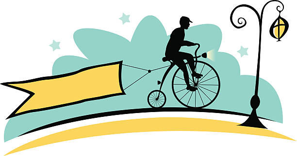 old cyclist and banner - old man on bike stock illustrations, clip art, cartoons, & icons