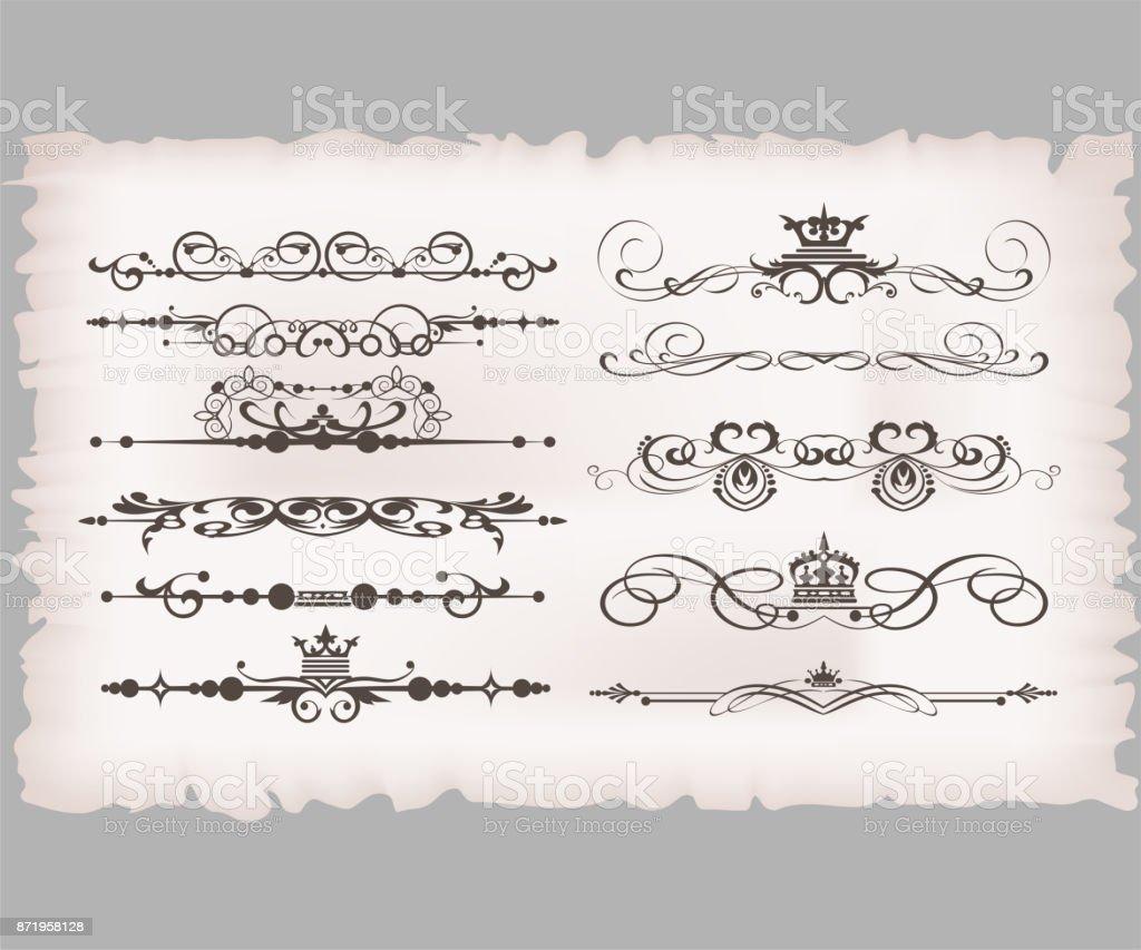 Old Design Elements vector art illustration