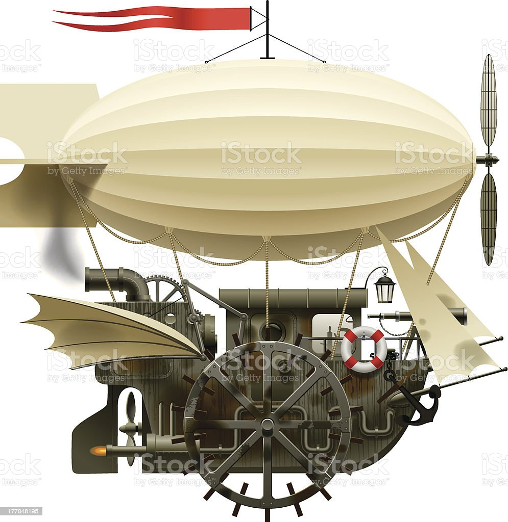 Old design for flying blimp with balloon attachment vector art illustration