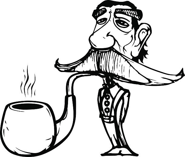 old economist man smoking one big pipe - old man smoking pipe cartoons stock illustrations, clip art, cartoons, & icons