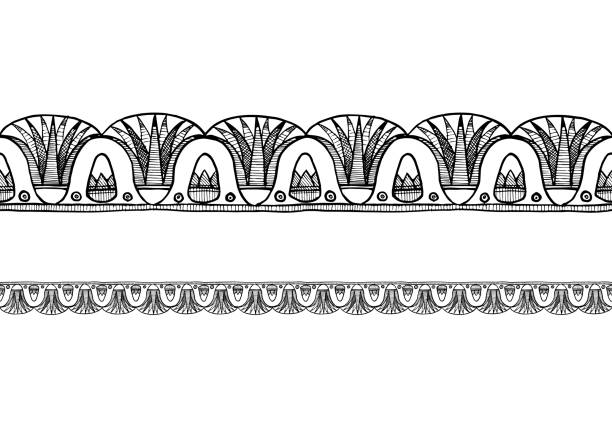 old Egyptian border ornament Ancient  Egyptian border ornament with lotus. Horizontal seamless pattern. egyptian culture stock illustrations