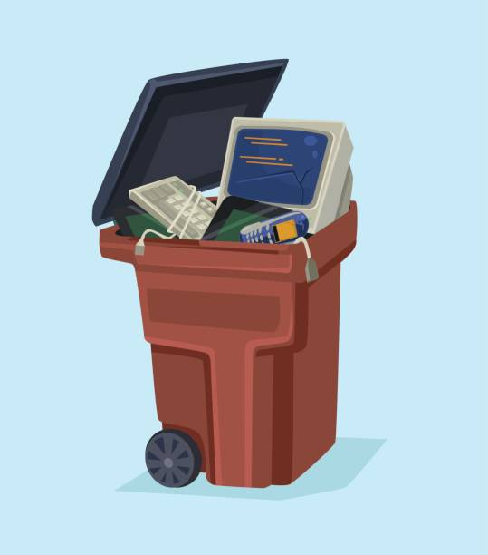 Old electronics technology computer and phone in trash can vector art illustration