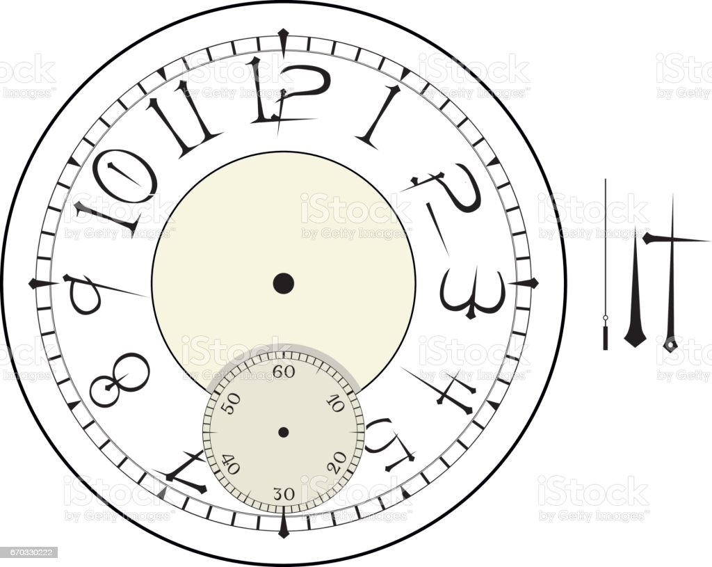 old elegant clock face template with numerals and arrows vector