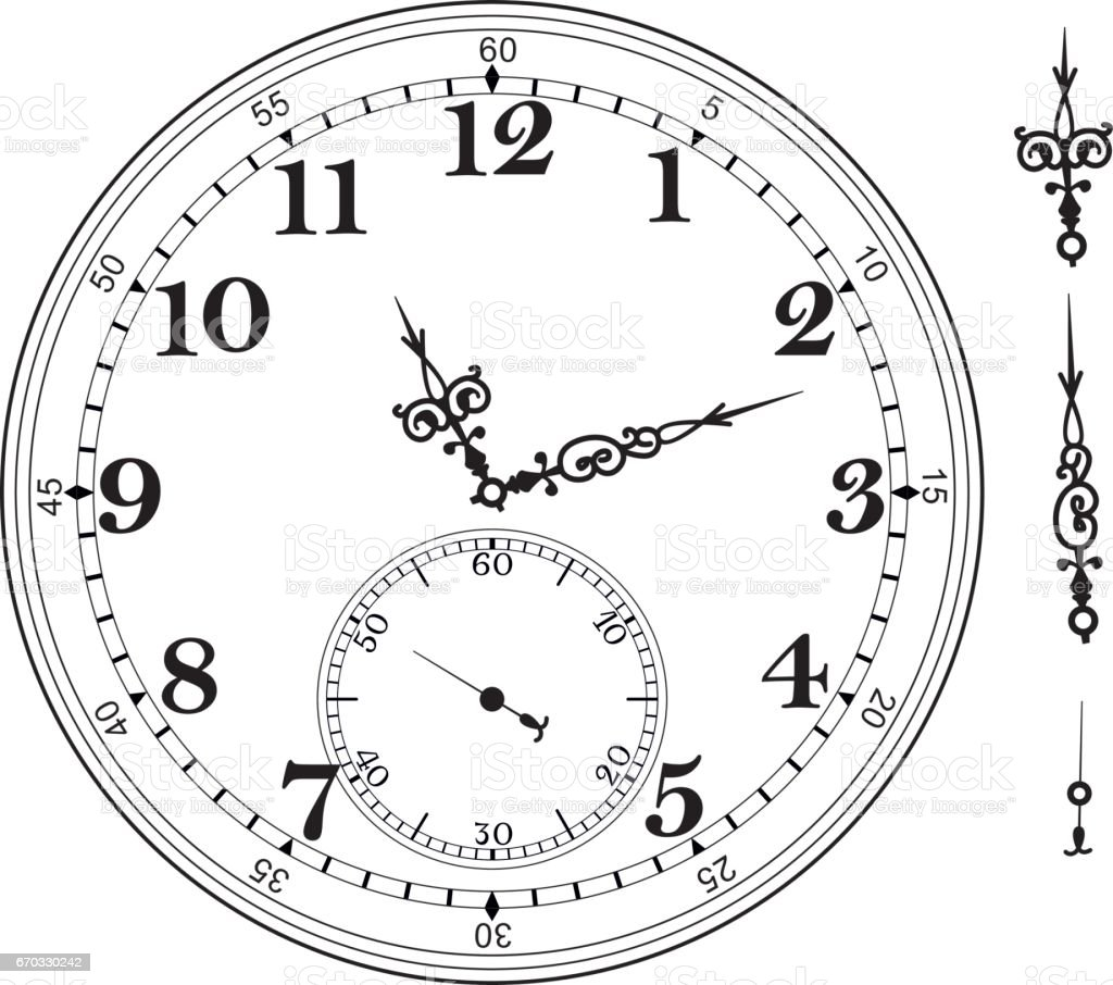 Old Elegant Clock Face Template With Numerals And Arrows Vector ...