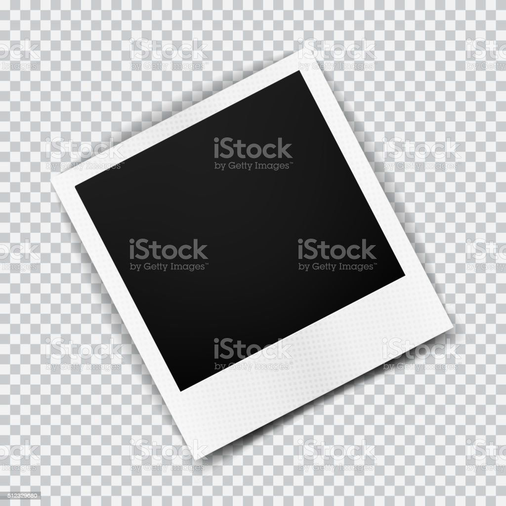 Antiguo vacío realista transparente con marco de fotos con sombra de tartán - ilustración de arte vectorial