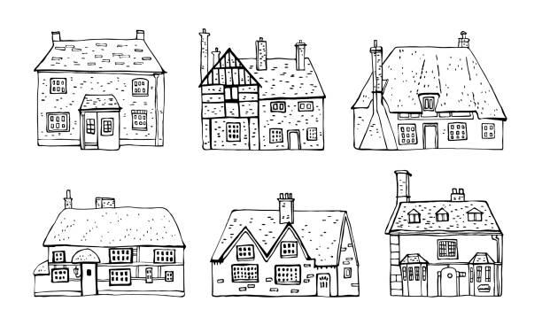 altes englisches dorf skizze handgezeichnete vektorgrafik. satz von cartoon umriss häuser fassaden isoliert auf weißem hintergrund - ziegelwände stock-grafiken, -clipart, -cartoons und -symbole