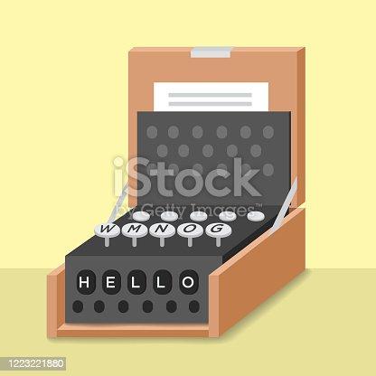 Enigma machine vintage old typewriter Icon.