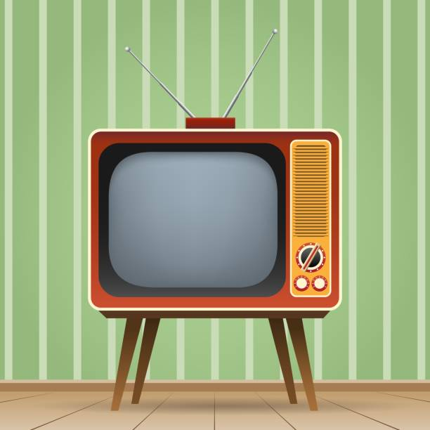 Old entertainment televisio Old entertainment television. Old tv vector illustration, color vintage television entertainment media television set stock illustrations
