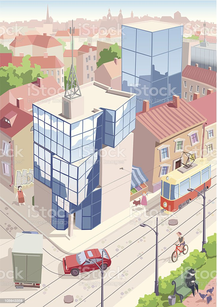 Old European city vector art illustration