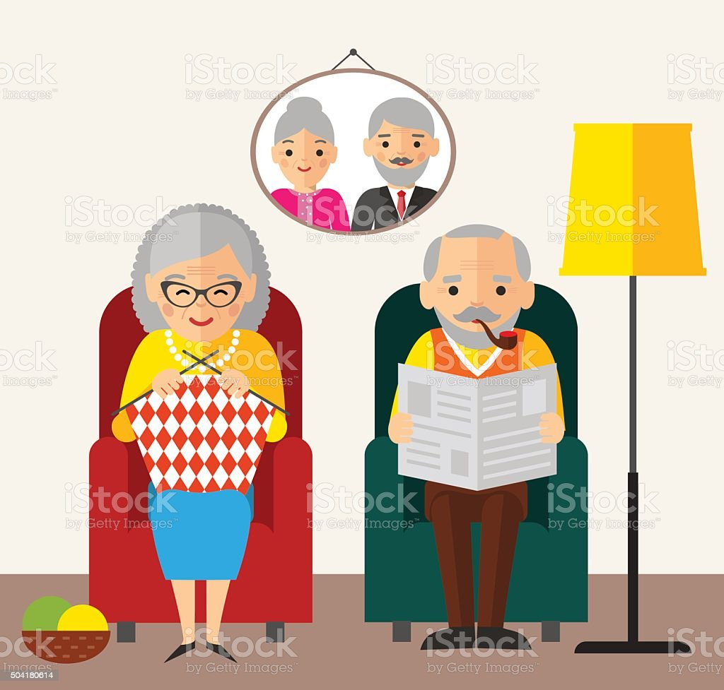 Old European family sitting in an armchair at home. vector art illustration