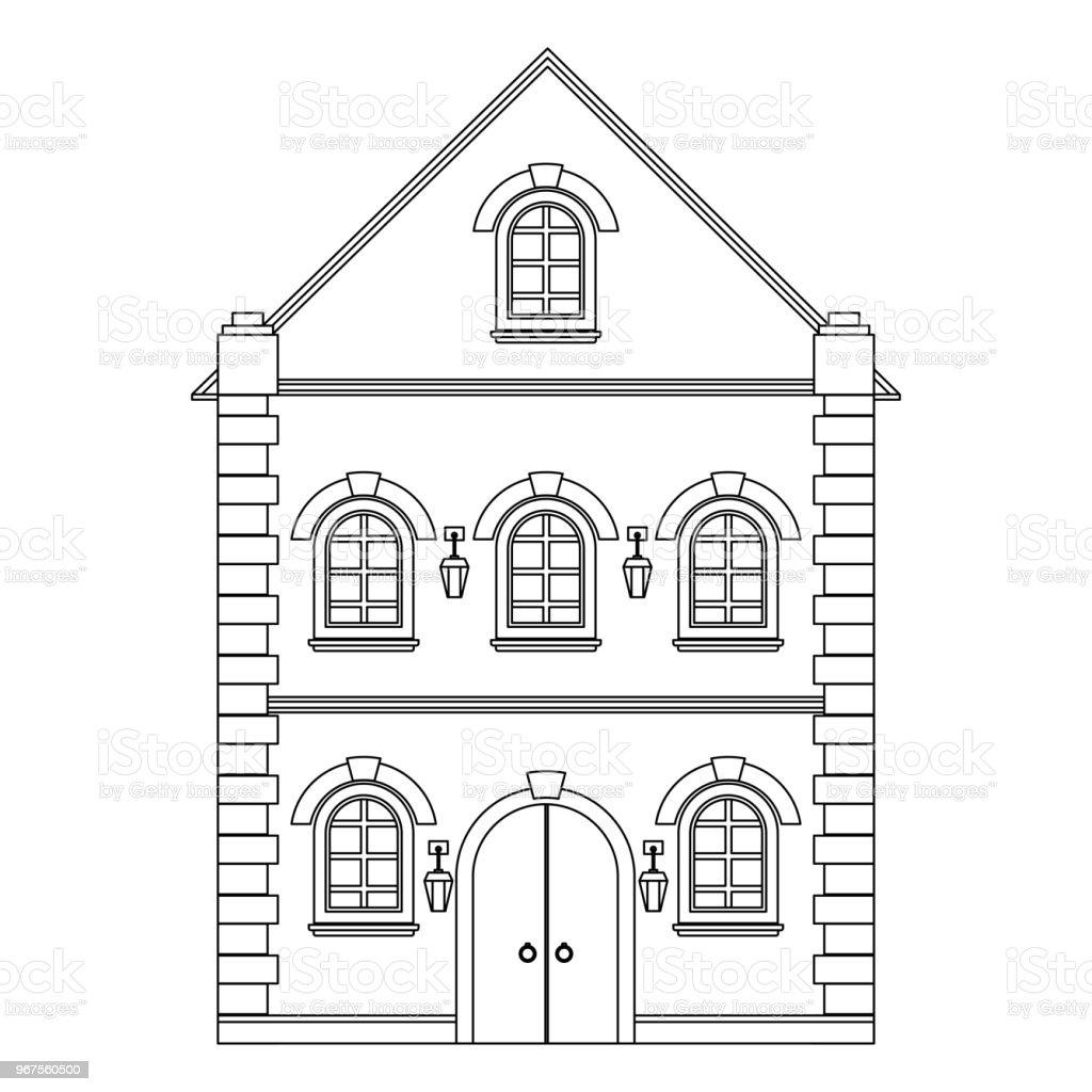 Alte Europäische Haus Flache Kontur Zeichnen Stock Vektor