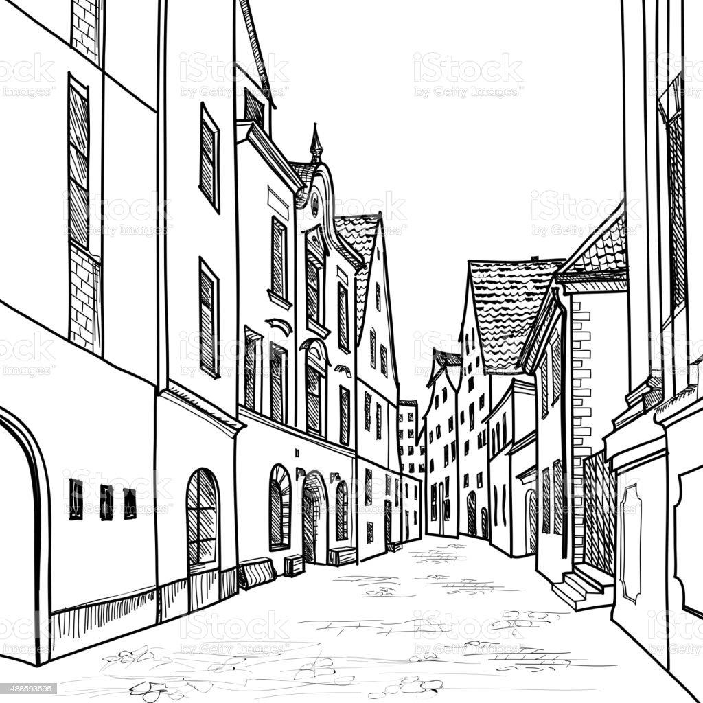 Alten Europaischen Strasse Hauser Und Gebaude Handzeichnung