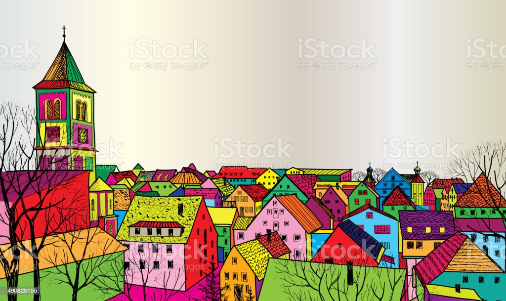 Old European street. Houses and buildings. Hand drawing sketch vector art illustration