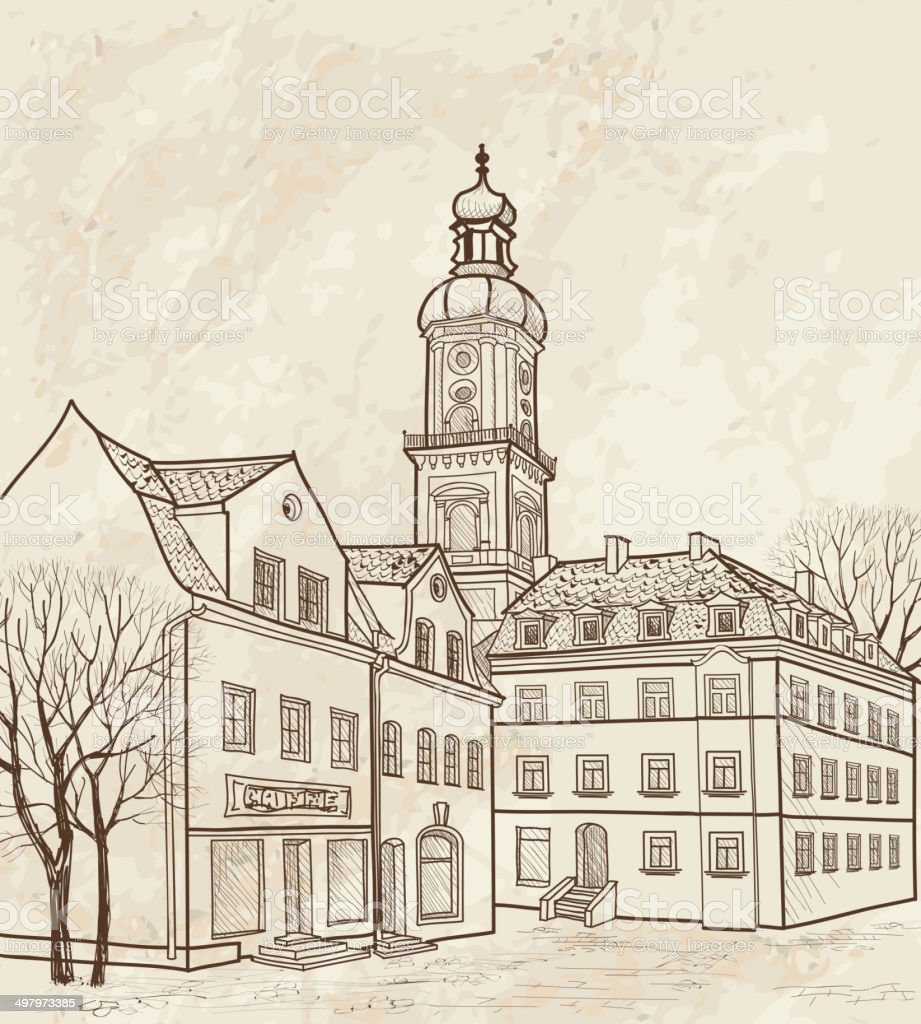 Old European Street Houses And Buildings Hand Drawing Sketch Royalty Free