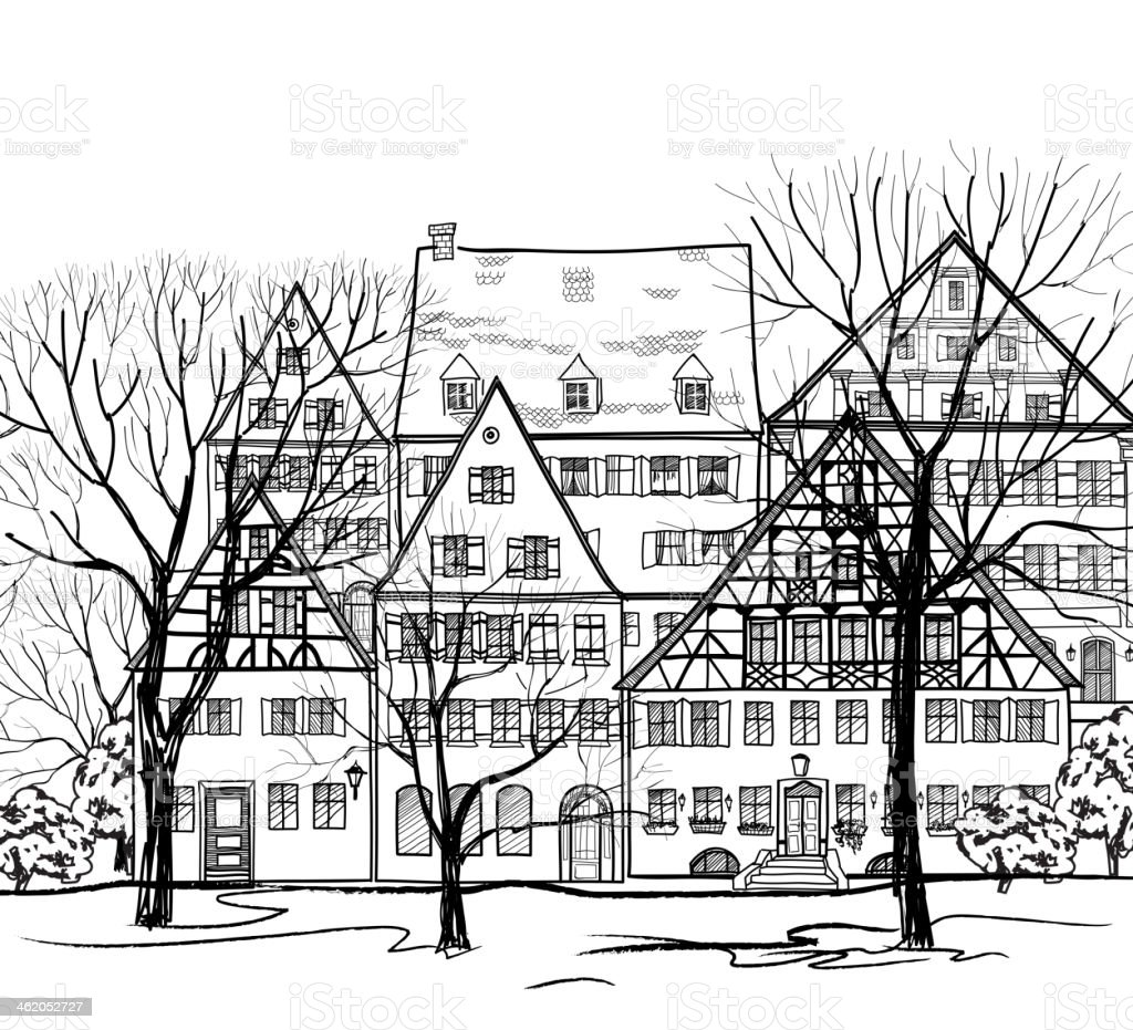 old european street houses and garden hand drawing vector