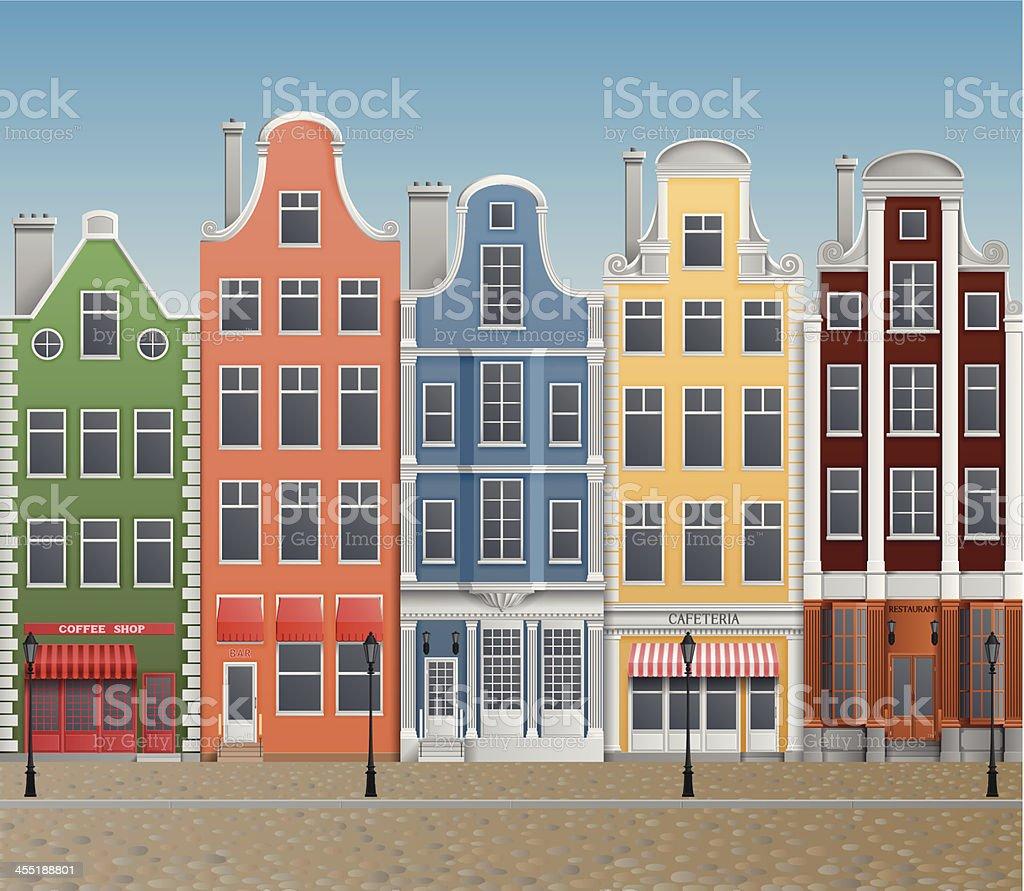 Old european town vector art illustration