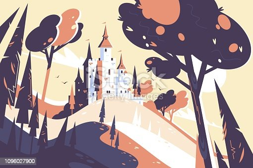 Old fairytale castle standing on hill landscape. Chateau surrounded with trees and plants vector illustration. Fairy medieval building located in forest flat style concept